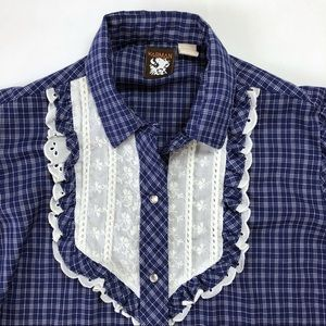 Vintage Karman plaid rockabilly western snap shirt